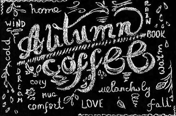 Autumn coffee lettering