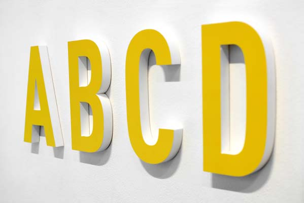 ABCD yellow alphabet letters